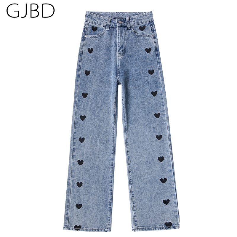 Women Jeans 2021 Spring Heart Embroidery Streetwear High Waist Wide Leg Long Pants Vintage Casual Ba