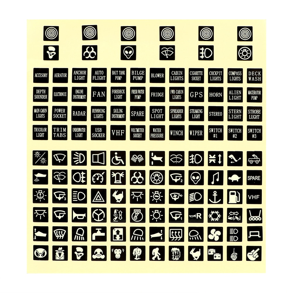 Etiqueta para interruptor LEEPEE Rocker, pegatina de coche luminoso PVC, Panel de circuito, pegatina, interruptores, relé decorativo