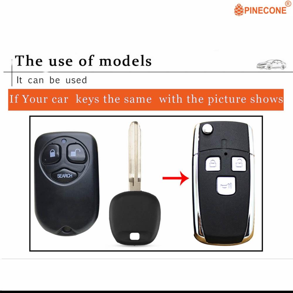 Pinecone caso chave para toyota corolla remoto chave 3 botões uncut toy43 lâmina 2 remoto em branco chave capa escudo 1 pc