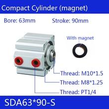 SDA63 * 90-S شحن مجاني 63 مللي متر تتحمل 90 مللي متر السكتة الدماغية المدمجة اسطوانات الهواء SDA63X90-S العمل المزدوج الهوائية اسطوانة