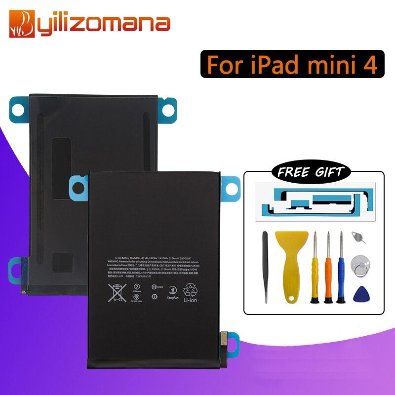 YILIZOMANA Original Tablet Batterie Für iPad mini 4 Kapazität 5124mAh A1538 A1546 A1550 Ersatz Li-Ion batterie Kostenlose Tools