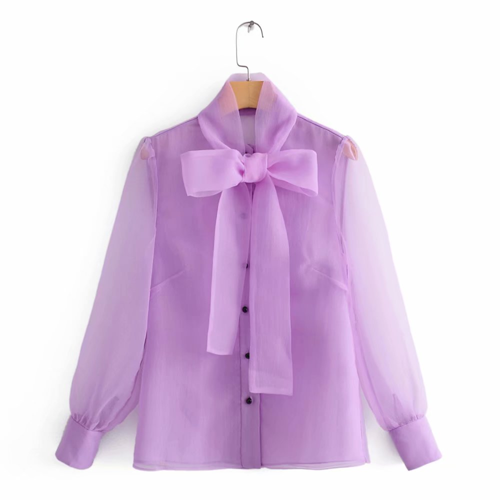 Vintage Elegant Women Purple Organza Blouses 2019 Fashion Female Chic Button Bow Collar Shirts Casual Office Wear Blusas