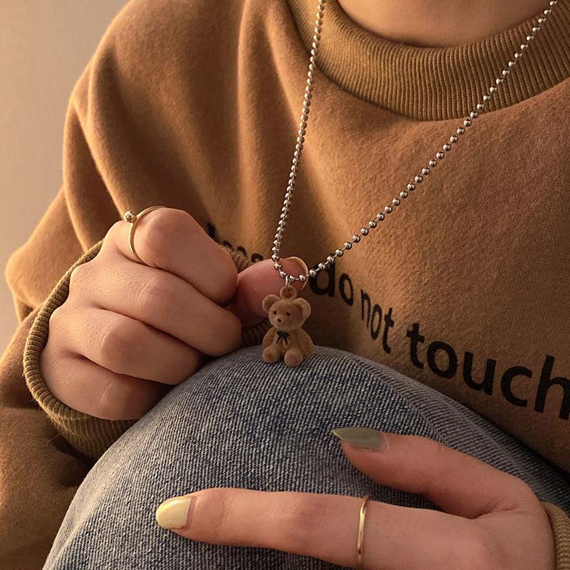Plush Bear Sweater Chain 2021 Long Necklace Female Long Clavicle Chain Accessories Necklace Female Gift Wholesale Jewlery korea new clavicle chain necklace lace clavicle chain necklace female collar wholesale