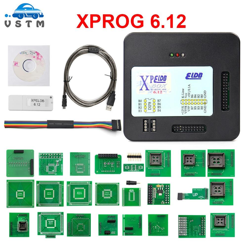 Mejor Precio xprog V6.12 v5.84 programador universal ecus prog xprog eeprom xprog m V6.12 programador con completa adaptador