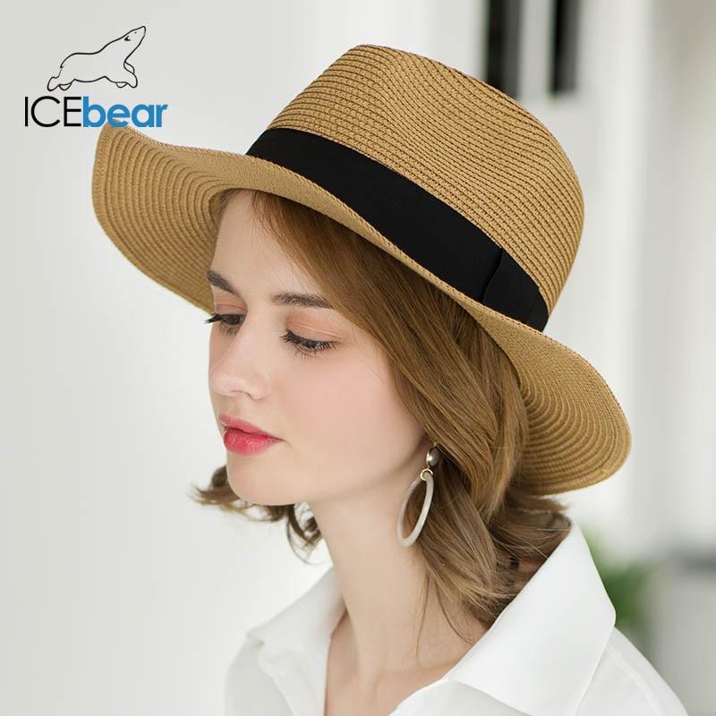 icebear Summer Women Beach Hats Casual Fashion Panama Hat Unisex Straw Sun Protection Cap New Arrival Foldable Brand Female Hat