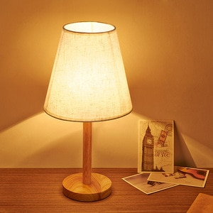 Dresser lamp ins Nordic solid wood decorative bedroom bedside lamp simple household warm modern study cloth cover lamp