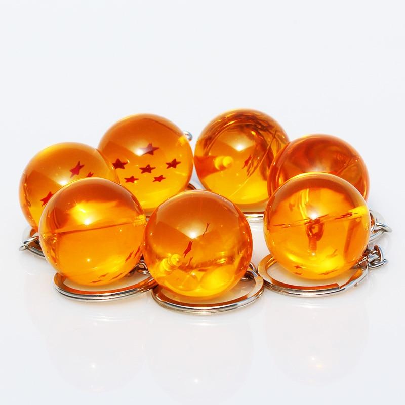 7pcs/set 2.5cm Dragon Ball Z 7 Stars Crystal Balls Keychain Pendant Keyring 1 2 3 4 5 6 7 star