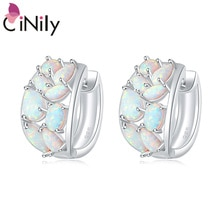 CiNily Lavish Oval Shape Fire Opal Earrings Silver Plated Fashion Jewelry Large Hook Earring for Women Jewelry Anniversary Gift
