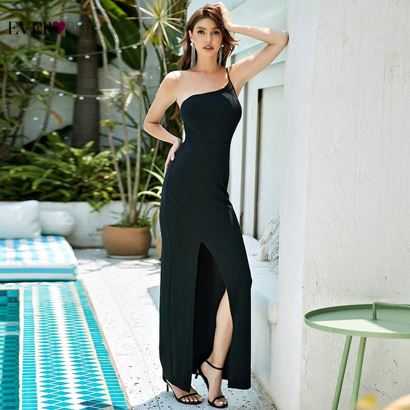 One Shoulder Evening Dresses For Women Ever Pretty Simple Mermaid Sleeveless Long Formal Party Dress With Side Split Robe Longue