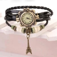 2021new beautiful girl lady hot vintage womens eiffel tower quartz leather bracelet wrist watch