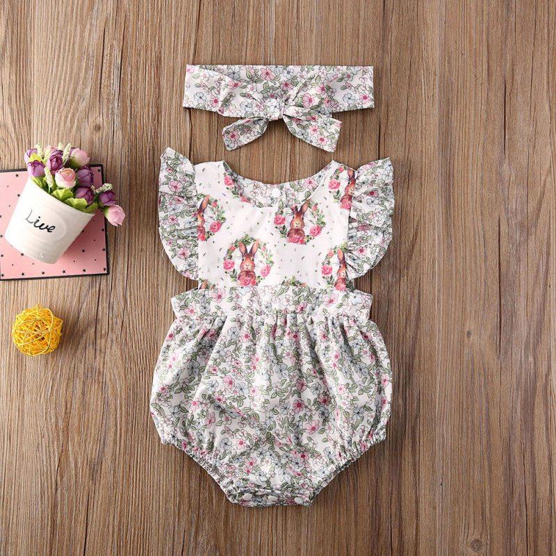 Летняя одежда для малышей; Пасхальное боди для новорожденных девочек; Повязка на голову; Платье без рукавов; Комбинезон с цветочным принтом ...