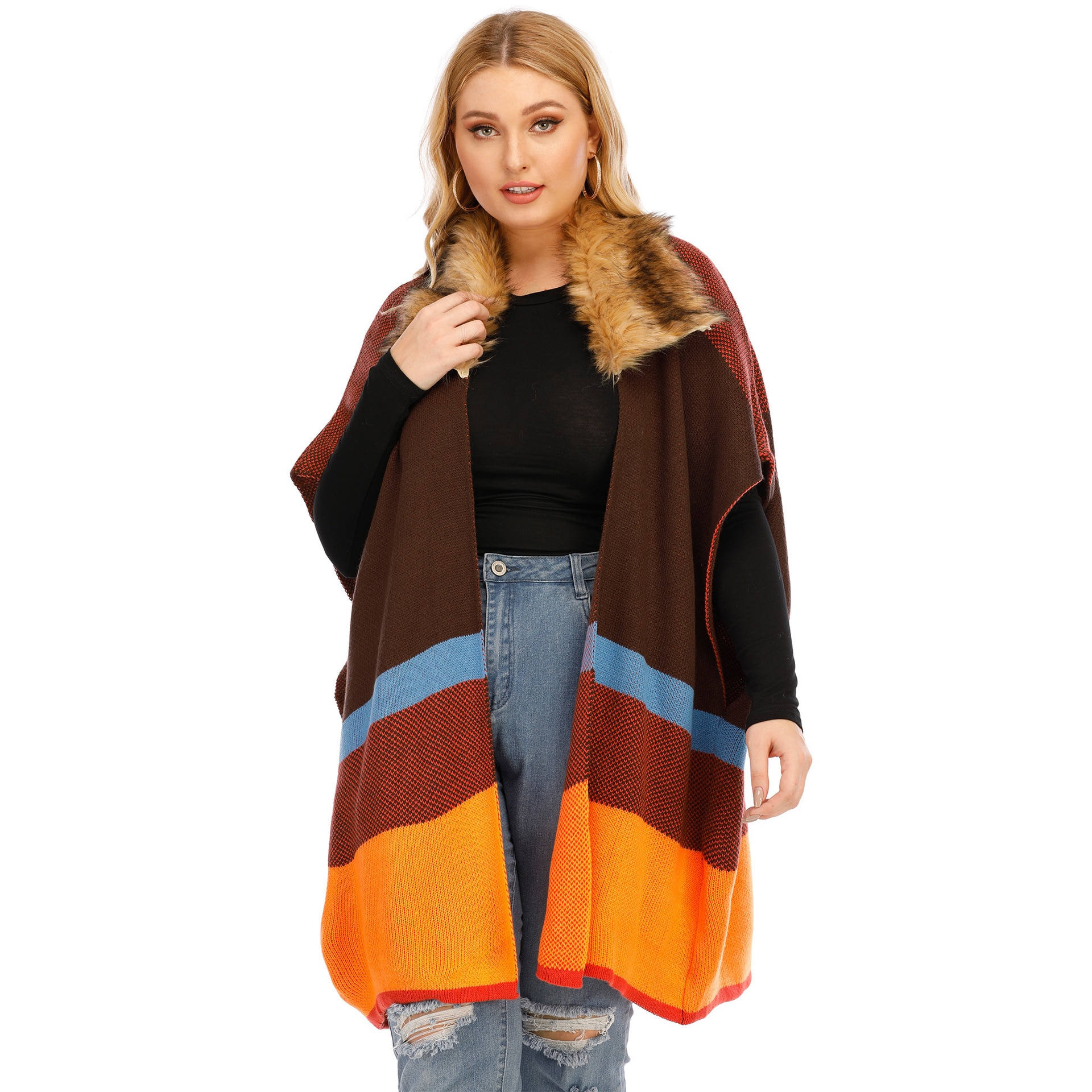 Plus Size Women's Cardigan Clothing Color Striped Stitching Big Fur Collar Fashion Shawl Mid Length Loose Fitting Waist Coat form fitting striped shell dress