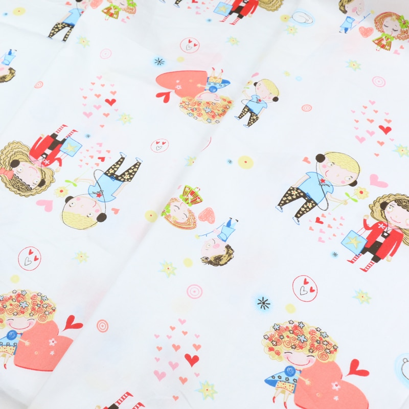 Serie de dibujos animados de princesa, tela bonita Rosa corazón melocotón algodón edredón para dormitorio cama cortina tela de vestido