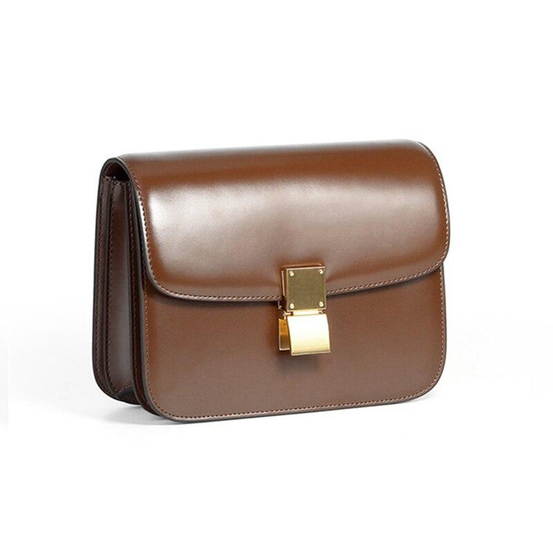 Burminsa Classic Box Genuine Leather Crossbody Bags For Women Brand Designer Push Lock Female Clutch Ladies Shoulder Bags 2021