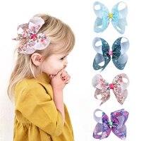 4 grosgrain ribbon printed hair bows with clip girls kids hair accessories handmade boutique hairpins barrettes girls headress