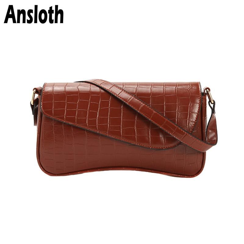 Ansloth Alligator Pattern Handle Bag Women Winter Shoulder Bag Ladies Crocodile Design Crossbody Bag Female Mini Handbag HPS759