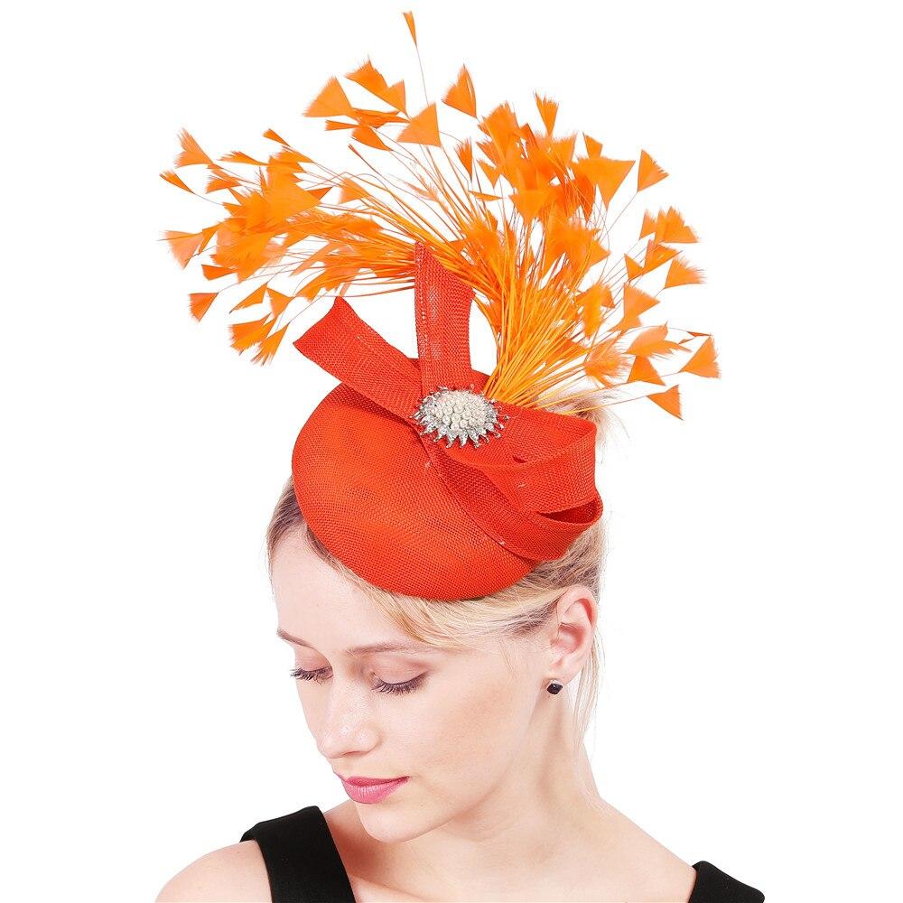 Orange Bogen Fedora Caps Feder Haar Clips Fascinator Kirche Party Hüte Frauen Elegante Dame Headwear Dekoration Kopfschmuck XMF340