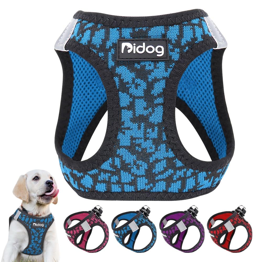 No Pull Mesh Dog Harness Nylon Pet Puppy Cat Harness Reflective Adjustable for Small Medium Dogs French Bulldog Pug