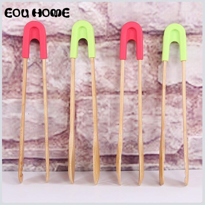 Utensilio multiusos para cocina de bambú pinzas antiescaldadoras Clip para ensalada y pan filete cocinar tenazas para servir comida desmontable en cuchara