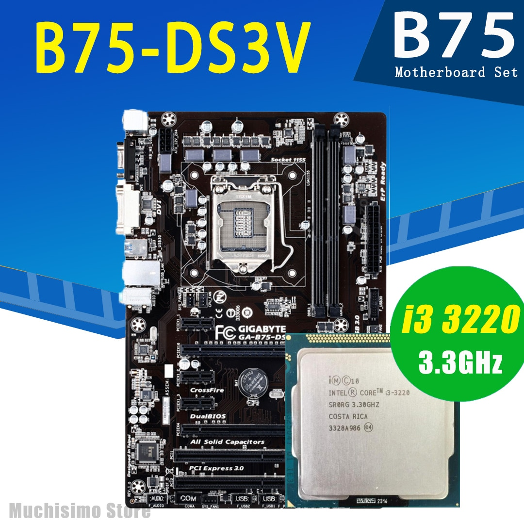 Placa-mãe com Cpu Conjunto de Placa-mãe Gigabyte Intel Core 3220 Lga 1155 Ddr3 1600mhz Pci-e 3.0 B75 Mainboard Ga-b75-ds3v i3