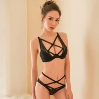 womens new sexy lingerie openwork lace cross chest sexy mesh perspective steel ring cotton pad underwear bra set