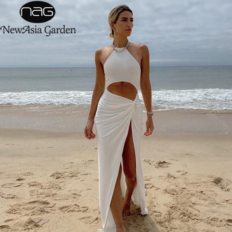 NewAsia-فستان سهرة نسائي ، أكتاف عارية ، مخرم ، ملتوي ، ماكسي ، أبيض ، لون عادي ، غير رسمي ، فتحة جانبية ، ملابس بحر ، صيف