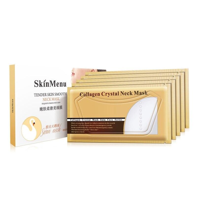 5 pièces collagène cristal cou masques blanchissant Anti-âge nourrissant cou blanchissant hydratant soins de la peau cou patchs chauds