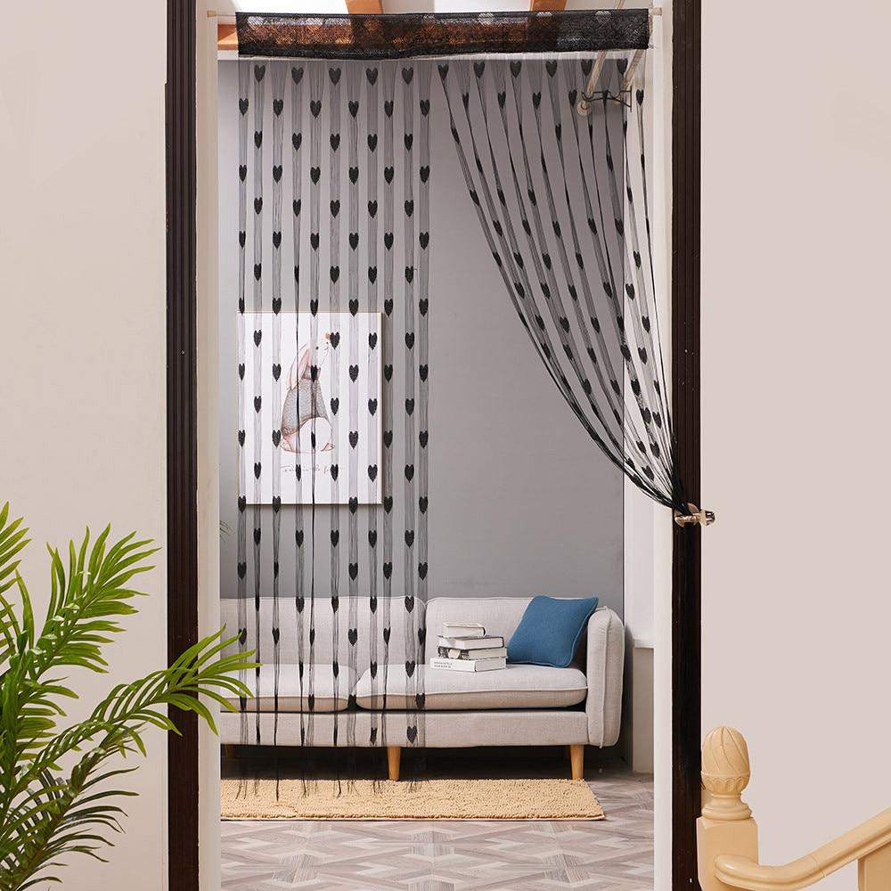 50x200cm amor corazón cadena cortina para ventana o puerta divisor cortina pura cenefa diseño especial cortinas para la sala # A