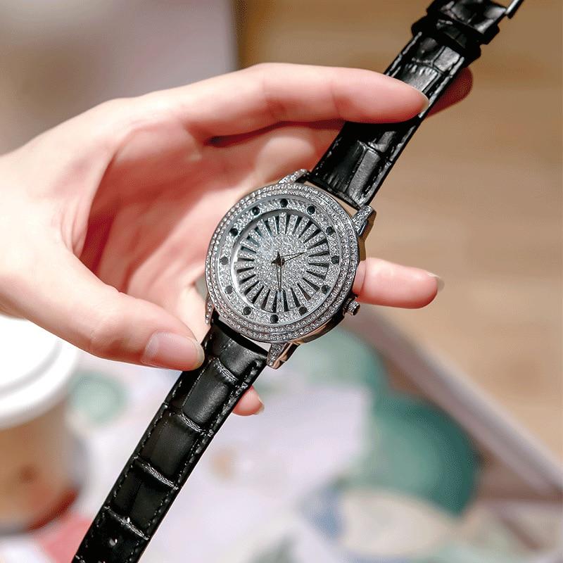 2021 Diamond Women's Watch Luxury Rotation Women Quartz Watch Fashion Ladies Casual Silver Watches Relogio Feminino Clock+Box