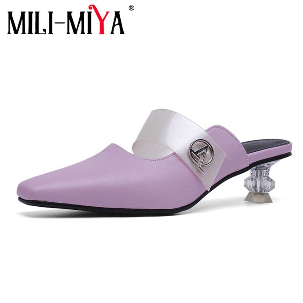 Новые весенне-летние женские туфли-лодочки MILI-MIYA размера плюс 34-48 женские модельные вечерние туфли без застежки с острым носком на квадратн...