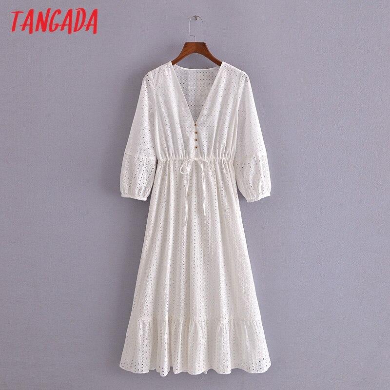 Tangada 2021 الصيف النساء الأبيض التطريز فستان رومانسي الخامس الرقبة قصيرة الأكمام السيدات ميدي فستان Vestidos 3H184