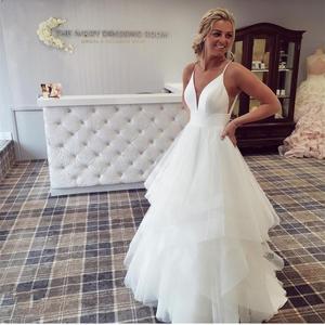 A-Line Wedding Dress Spaghetti Strap Tulle Organza Cake Floor Length Robe De Mariee Sleeveless Custom Made Low Back Princess