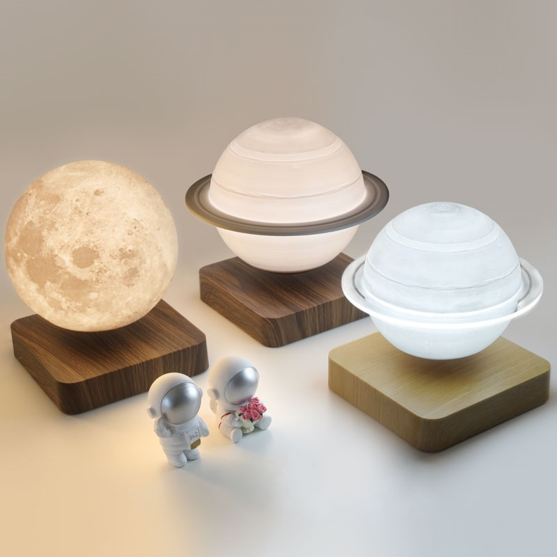 Moon Lamp Creative 3D Magnetic Levitation LED Night Lights Rotating Saturn Light Floating Table Lamp Home Decoration Kids Gift