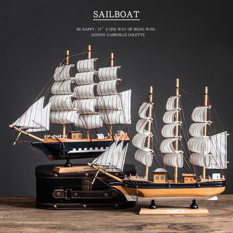Decoração de Mesa para Casa Modelo de Veleiro de Madeira Decoração do Barco Barcos à Vela Presente da Páscoa Desktop Artesanato Caribe Pérola Preta Corsair