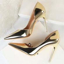 2020 Plus Size 43 Newest Women 10.5cm High Heels Gold Pumps Female Stripper Tacons Lady Shoes High Heels Scarpins Fetish Shoes