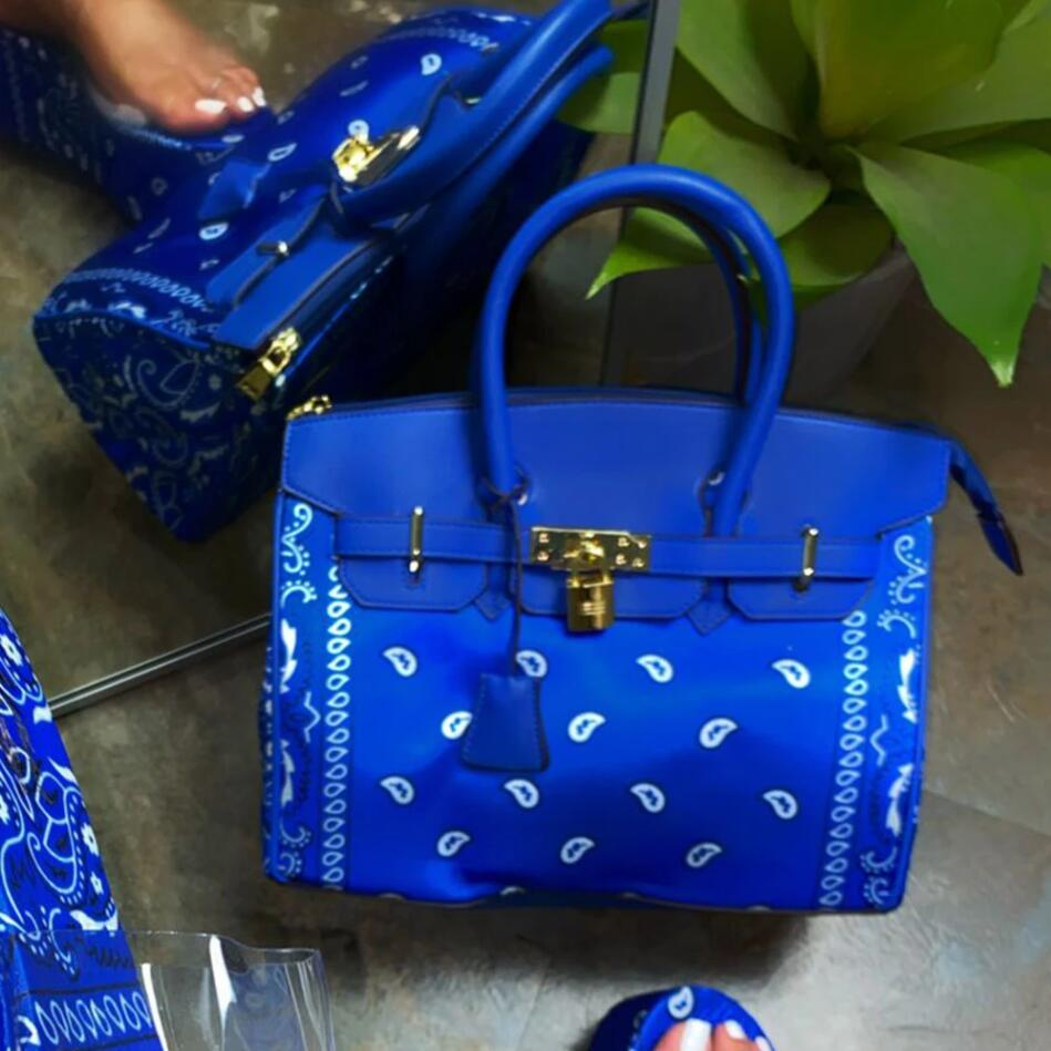 New Upgraded Version 2021 Pink Black Red Blue Elegant Paisley Printed Handbags Women Trendy Large Capacity Office Lady Bags