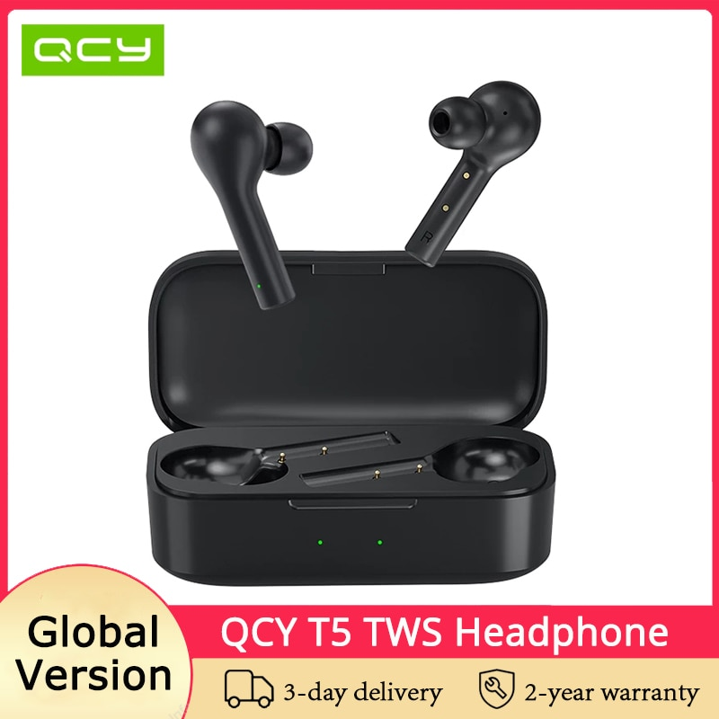 Original QCY T5 TWS Bluetooth Headphones 380mAh Charging Box True Wireless Earphone Touch Control Gaming Headset Stereo Earbuds