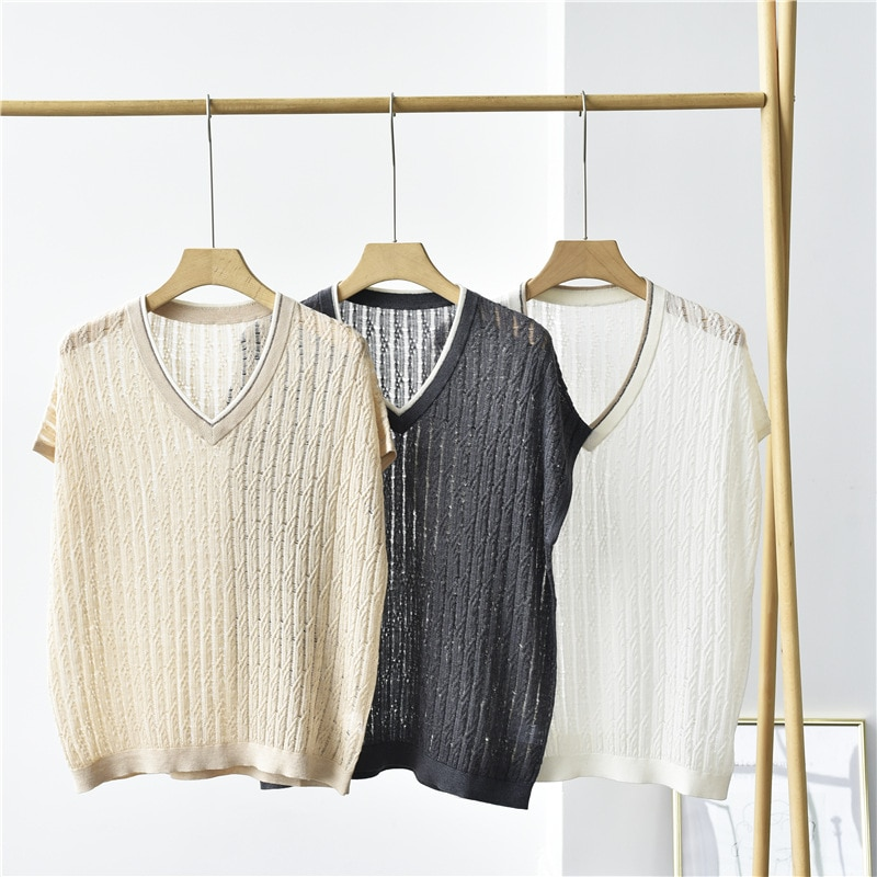 SHUCHAN See Through Sweaters for Women V-Neck 85% Silk+15% Cashmere Thin  High Street  Short Sleeve Pullover enlarge