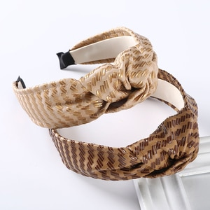 Haimeikang PU Leather Headband For Women knotted Wide-brimmed Hair Band Girls Stripe Winter Hair Accessories Retro Bezel Hoop