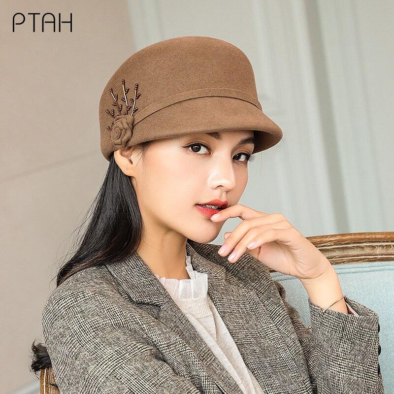 [PTAH] 100% de lana de las mujeres Otoño Invierno sombreros Para Iglesia...