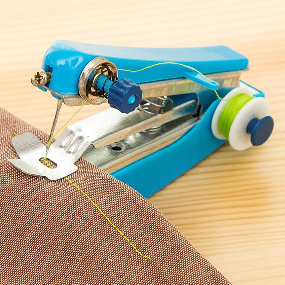 1 Mini máquina de coser Manual portátil herramienta de coser de funcionamiento Simple familia de tela de coser herramientas de coser manuales #10