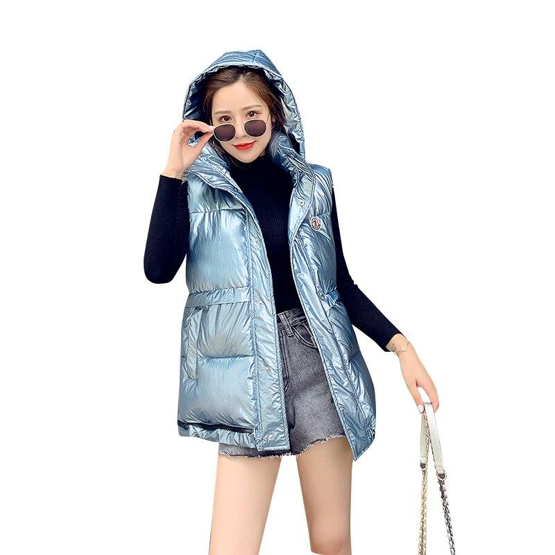 2020 novo outono feminino brilhante colete feminino inverno fino com capuz colete senhoras outerwear colete feminino sem mangas casaco