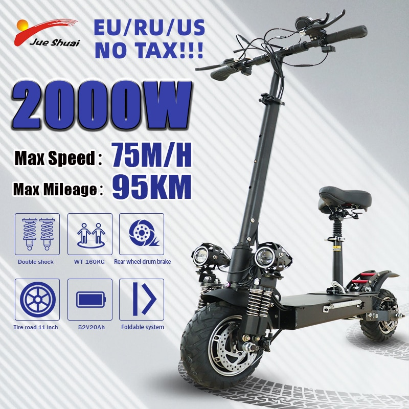 Jueshuai Electric Scooter 2600W Dual Motor Kick Scooter for Adults 52V20A 75KM/H 10-Inch Tire Foldable Scooter Eléctrico scooter vacuum tire motor front hub 10 inch electric scooter 36v48v brushless motor 500w