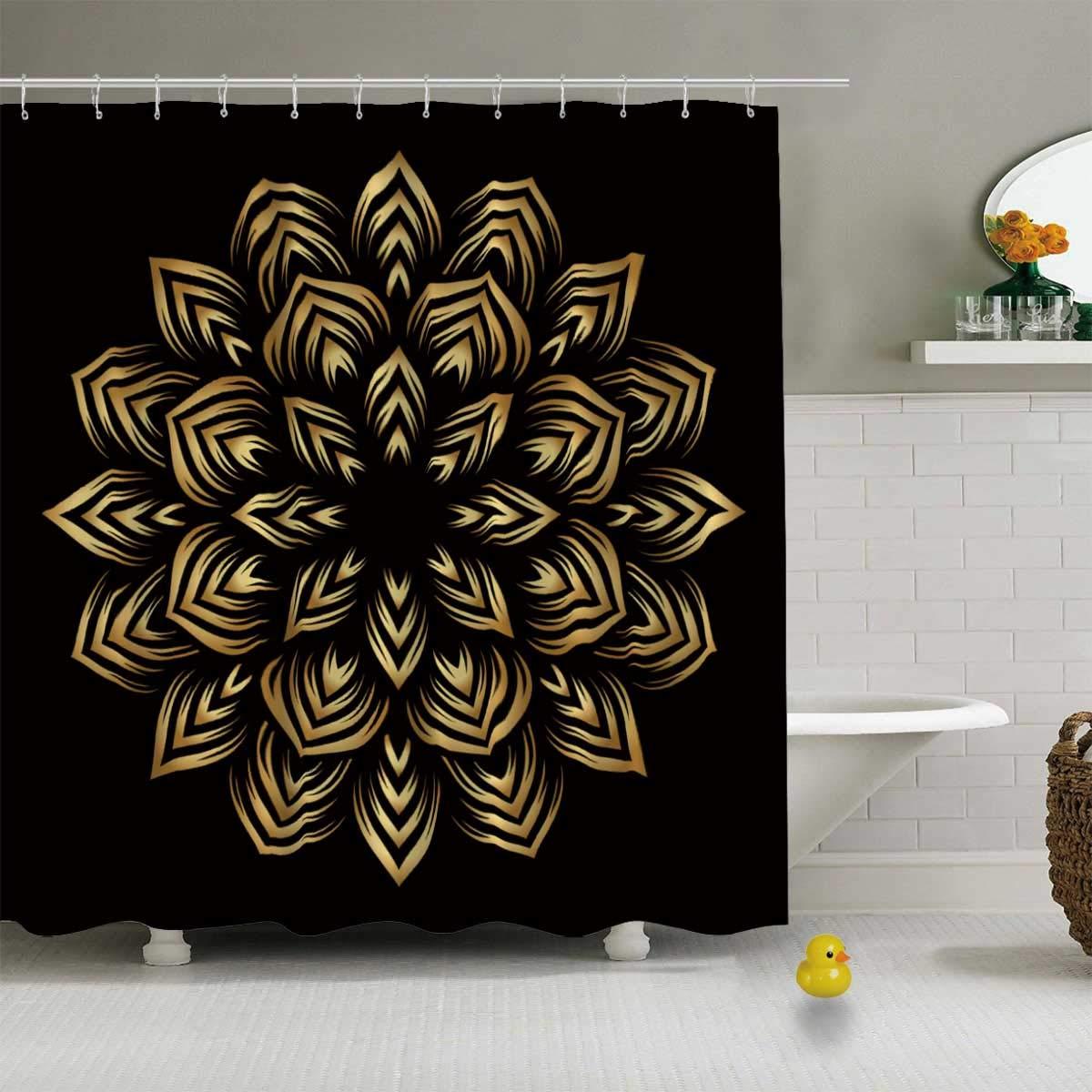 Cortina de ducha duradera para baño, 79L x 72W, diseño redondo dorado Mandala