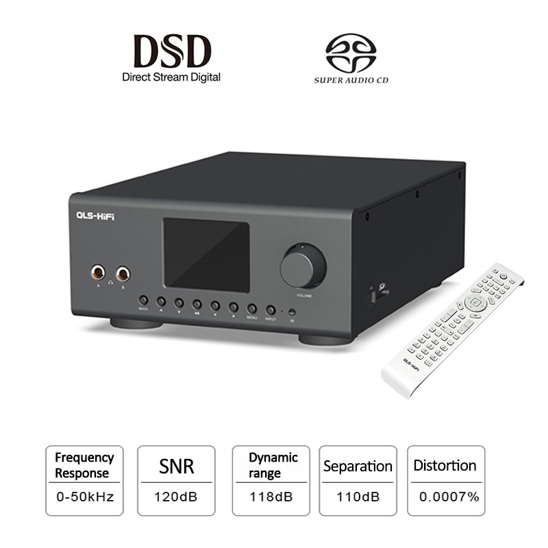 Quloos QA860 hifi مشغل رقمي AD1955, DAC LME49720 + OPA2134 24 بت/192 كيلو هرتز DSD64 محوري/بصري مشغل موسيقى FLAC