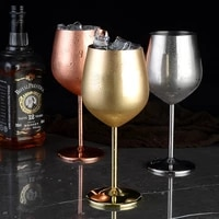 wine glasses stainless steel copper rose gold goblet juice drink champagne goblet beer glass party bar ware kitchen tool 500ml