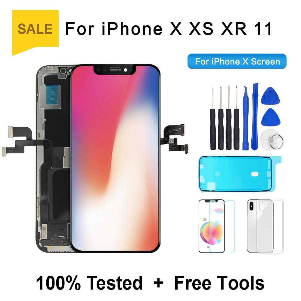 شاشة OLED عالية الجودة لهاتف iPhone X XS XR شاشة OLED لهاتف iPhone X استبدال شاشة العرض مع شحن مجاني