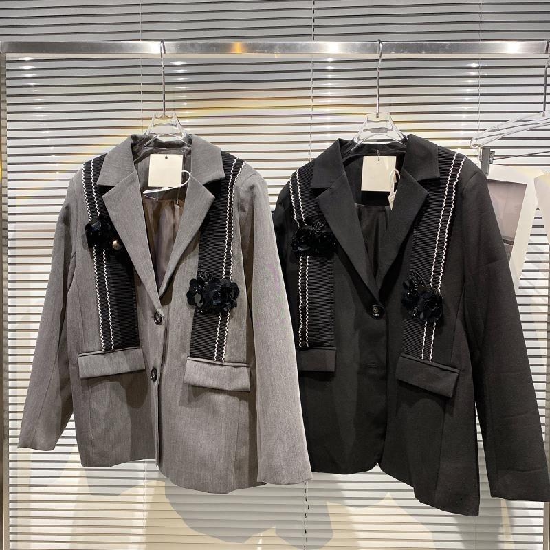 زهرة من الترتر الدانتيل الربط فضفاضة السترة معطف المرأة 2021 الخريف موضة جديدة تظهر سترة رمادية