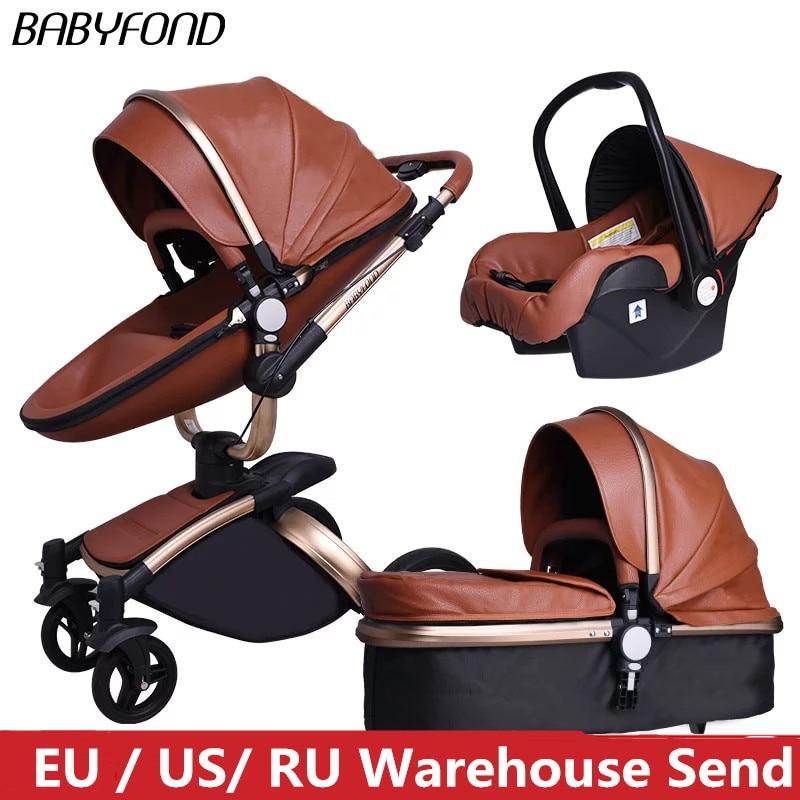 عربة أطفال 3 في 1 ، عربة أطفال عالية الجودة لحديثي الولادة ، 2 في 1 عربة أطفال جلدية قابلة للطي 360 درجة