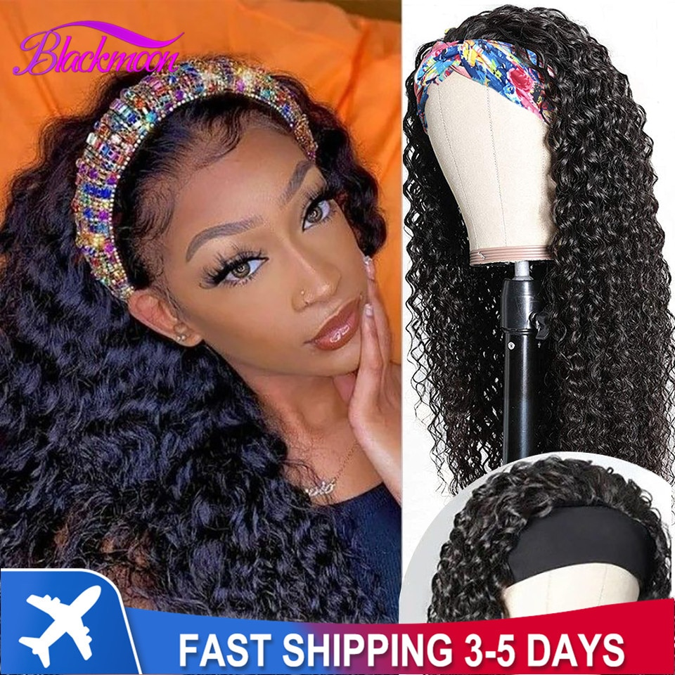 Brazilian Curly Hair Headband Wig Glueless Scarf Remy Human Hair Wigs for Black Women Full Machine Made Wig Beginner Friendly